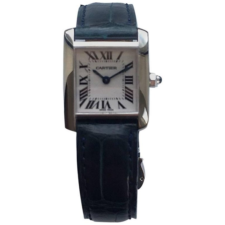 Cartier Ladies White Gold Tank Quartz Wristwatch