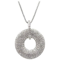Modern Pave Diamond Open Drop Pendant Necklace