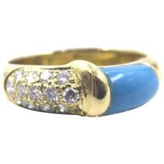 Turquoise Diamond 18 Karat Yellow Gold Two-Row Band Ring