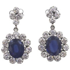 Vintage Diamond Sapphire Platinum Drop Earrings