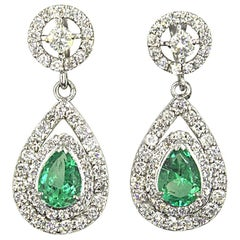 Emerald Diamond Drop White Gold Earrings