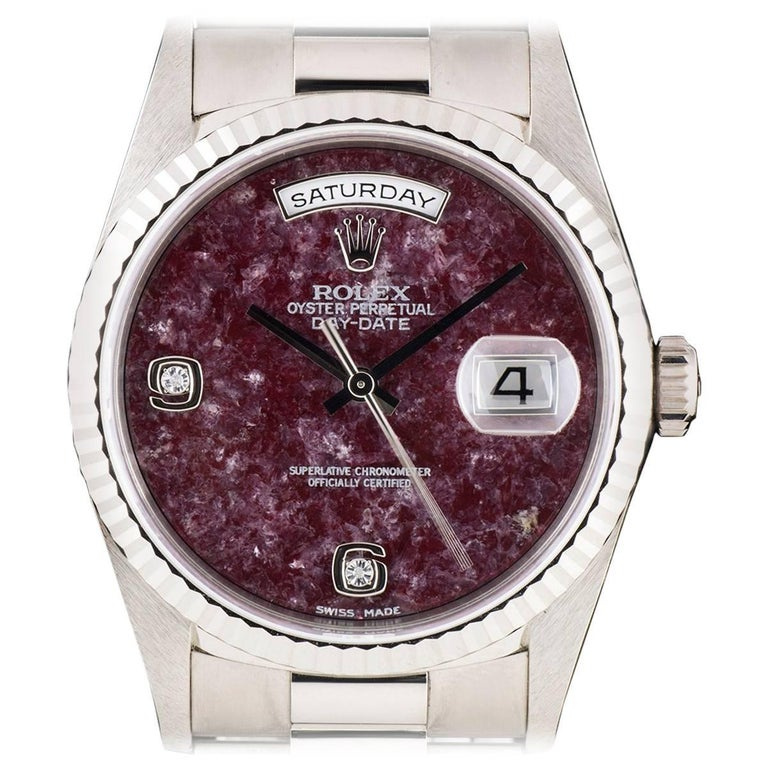 Rolex White Gold Day-Date Grossular Diamond Dial automatic Wristwatch For Sale