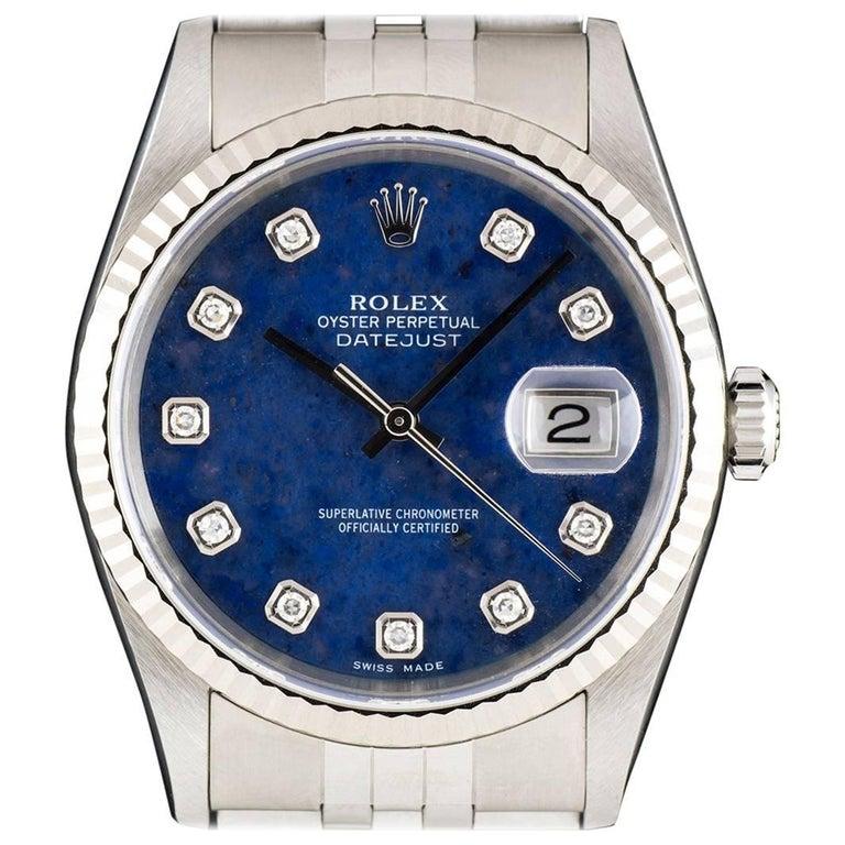 Rolex Stainless Steel Datejust Sodalite Diamond Dial automatic Wristwatch