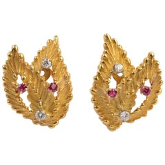 Gold Leaf Earrings with Diamonds and Rubies