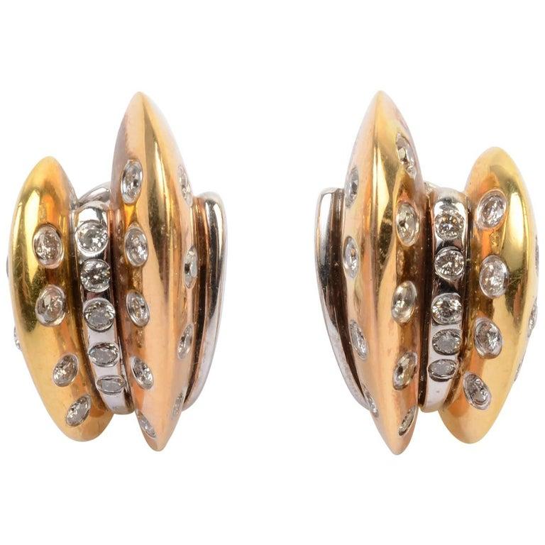 Diamond Yellow and White Gold Hoop Earrings