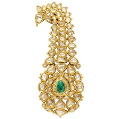 Indian Mughal Diamond  Jaipur Enamel Sarpech Urban Ornament Brooch