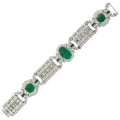 Art Deco Carved Emerald and Diamond Bracelet