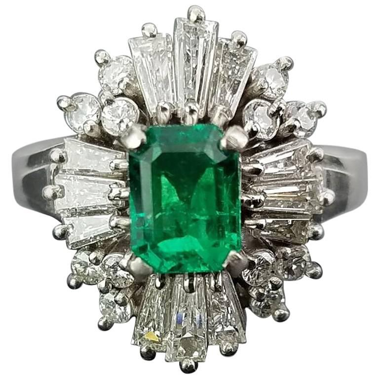 Colombian Emerald and Diamond Platinum Cocktail Ring