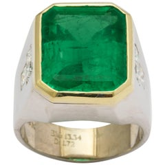 13 Carat Colombian Emerald Men's Ring