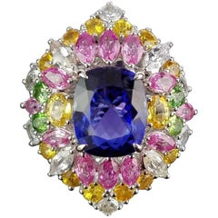 17.65 Carat Cushion Tanzanite and Colored Sapphire Cocktail Ring