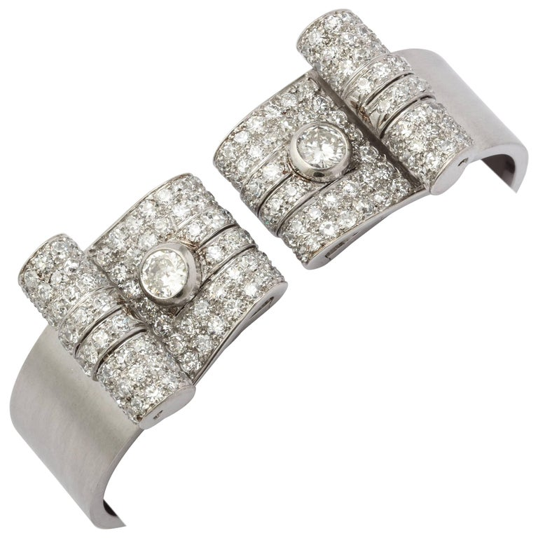 French Art Deco Diamond Bangle