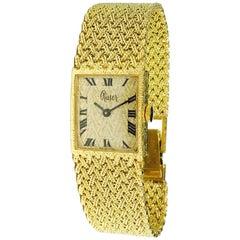 Ruser Ladies Yellow Gold Vintage Mesh Wristwatch