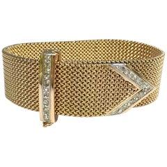 Vintage Rose Gold Diamond Buckle Bracelet