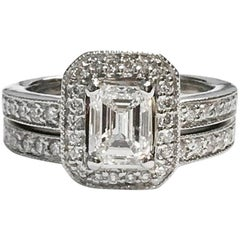 GIA Certified 1.02 Carat Emerald Cut Diamond Engagement Ring Wedding Set