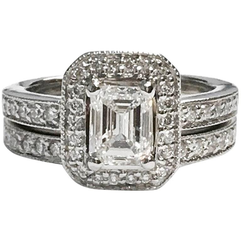 GIA Certified 1.02 Carat Emerald Cut Diamond Engagement Ring Wedding Set