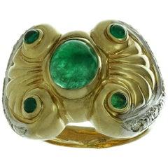 Byzantine Style Emerald Diamond Yellow Gold Ring