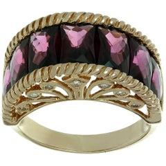 Rhodolite Garnet Rose Gold Diamond Ring