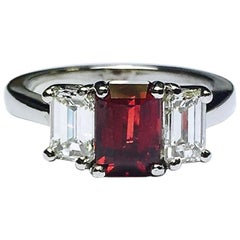 GIA No Heat Ruby and Diamond Platinum Ring