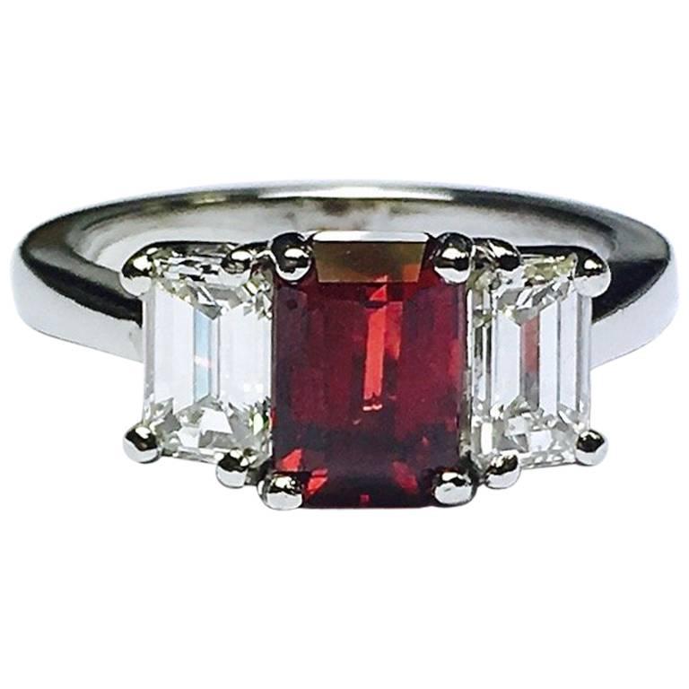 GIA No Heat Ruby and Diamond Platinum Ring