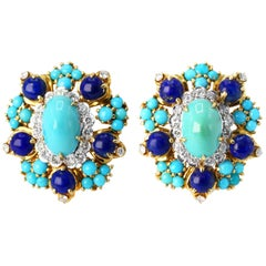 Cartier Turquoise, Lapis Lazuli and Diamond Earclips