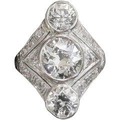 Art Deco 4 Carat Diamond Platinum Dinner Ring