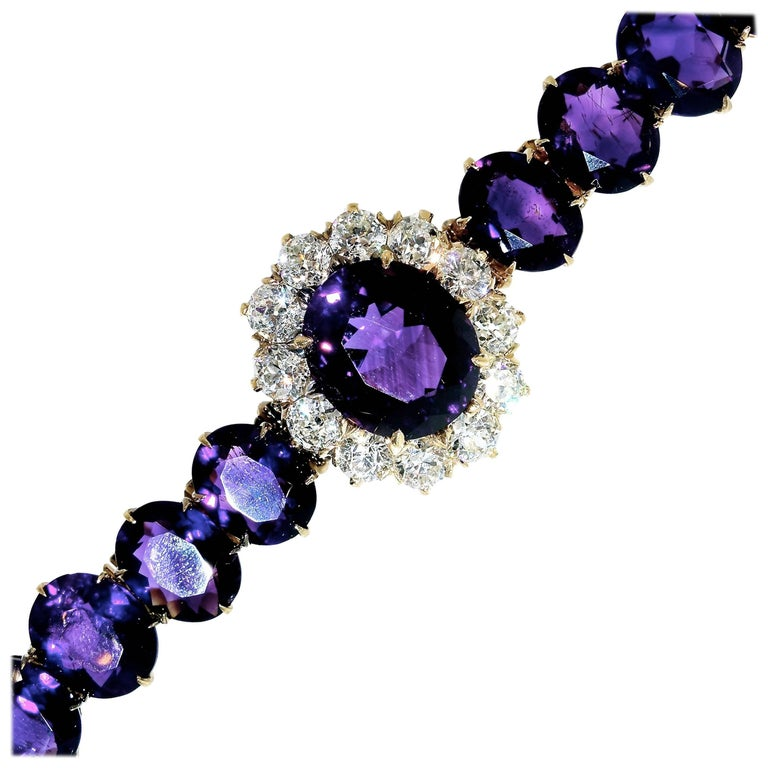 Antique Diamond and Siberian Amethyst Bracelet For Sale