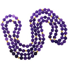 Amethyst and 18 Karat Gold Bead Long Necklace by Pierre/Famille