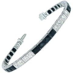 Art Deco Diamond and Onyx Bracelet, circa 1925