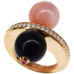 Cartier Eva John 18 Karat Gold Diamonds Onyx Pink Opal Sapphire Ring