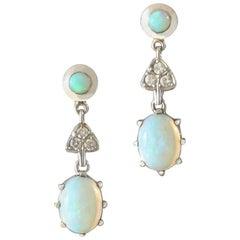 1960s Australian Opal Diamond White Gold Drop Earrings