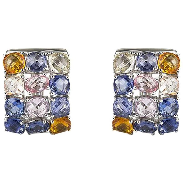 Multi-Colored Sapphire Earrings 17.51 Carat For Sale