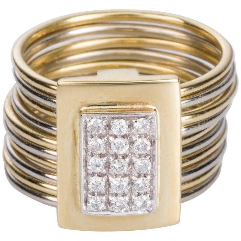 Damiani Multi-Band 18 Karat Yellow and White Gold Diamond Ring For Sale