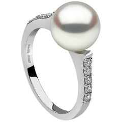 Yoko London White Diamond and Gold Freshwater Pearl Ring