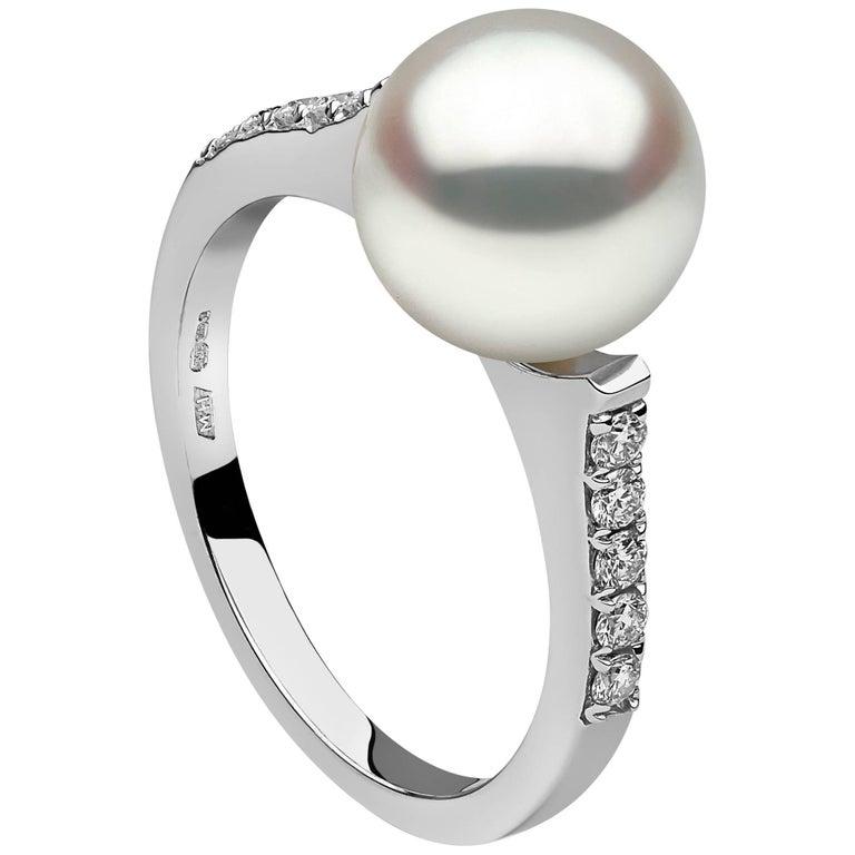 Yoko London White Diamond and Gold Freshwater Pearl Ring 1