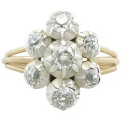 1820s Antique 1.28 Carat Diamond and Yellow Gold Silver Set Cluster Ring