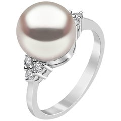 Yoko London Freshwater and White Diamond Engagement Ring set in 18K White Gold