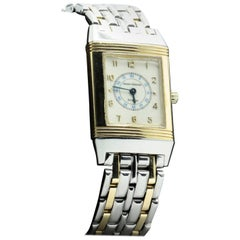 Jaeger LeCoultre Yellow Gold Stainless Steel Reverso Quartz Wristwatch