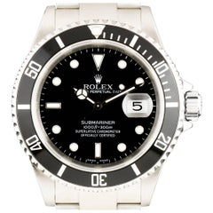 Rolex Stainless Steel Submariner Date Black Dial Automatic Wristwatch Ref 16610