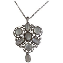 Arts & Crafts 1920s White Moonstone Silver Necklace