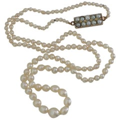 Victorian Asprey Natural Seed Pearl Gold Necklace