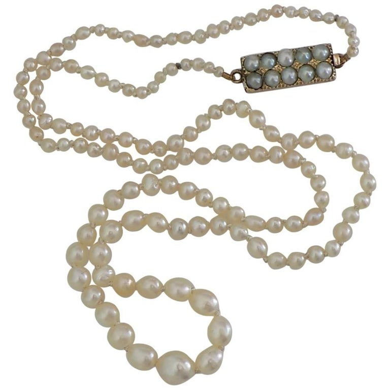 Victorian Asprey Natural Seed Pearl Gold Necklace 1