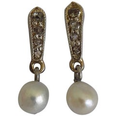 Edwardian Diamond Pearl Gold Earrings