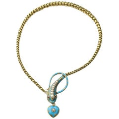 Turquoise Enamel and Pearl Snake Necklace