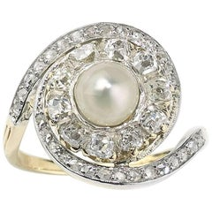 French Antique Pearl and Diamond Ring