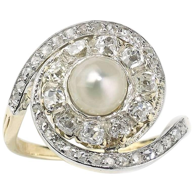 French Antique Pearl and Diamond Ring For Sale