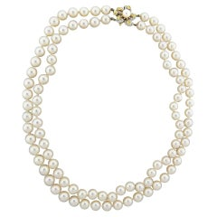 Tiffany & Co. Daffodil Classics Pearl Diamond Gold Platinum Necklace