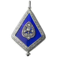 Platinum Diamond Enamel Art Deco Watch Pendant, circa 1925