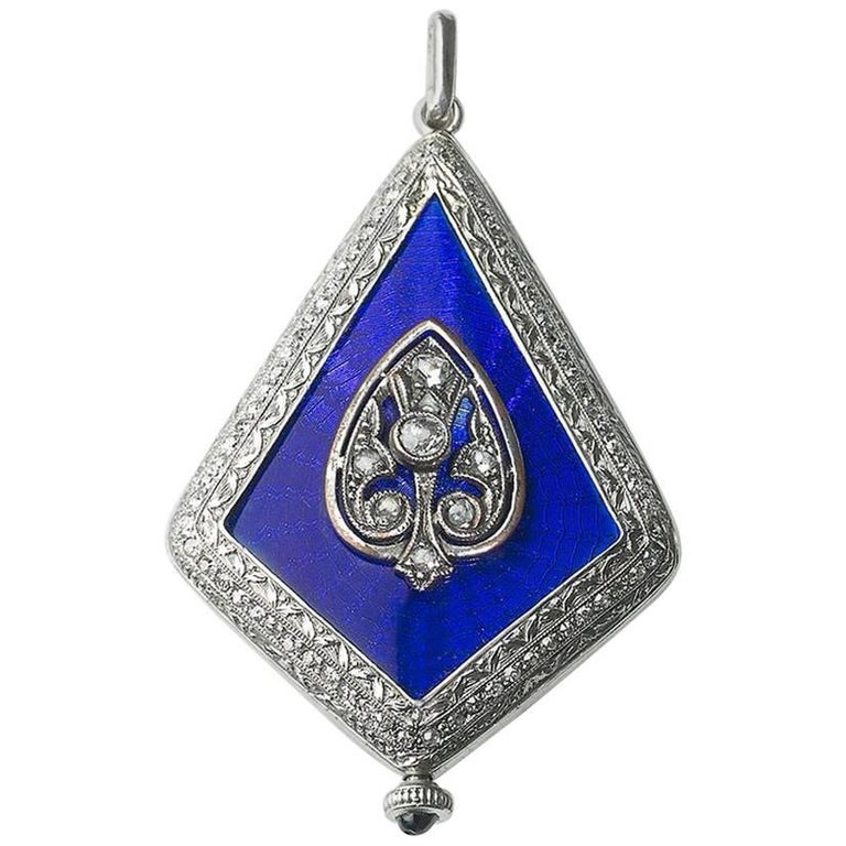 Platinum Diamond Enamel Art Deco Watch Pendant, circa 1925