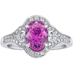 David Gross Group 2.31 Carat Oval Pink Sapphire and Diamond Platinum Ring