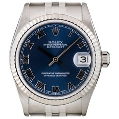 Rolex Stainless Steel Datejust Mid-Size Blue Roman Dial automatic Wristwatch